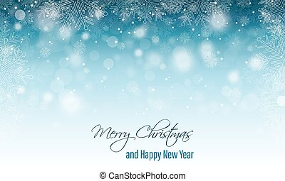 Merry Christmas greeting card. Happy New Year banner. Winter scenery with blurred background, snowfall and snowflakes. Vector design.