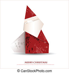 Merry christmas greeting card - illustration with Santa claus in origami style