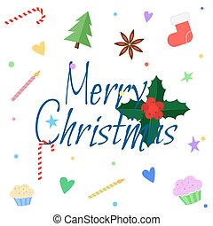 Merry christmas greeting card in flat style. Xmas lettering with holly, christmas tree, candy, star anise, cakes.