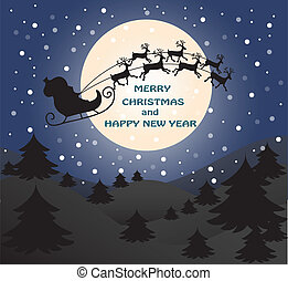 Merry Christmas greeting card Landscape with Santa Claus on sledge with deers. Vector