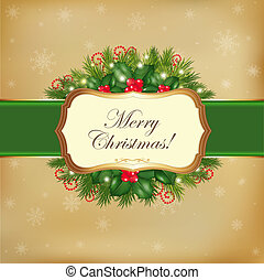 Merry Christmas Card With Garland, Vector Illustration