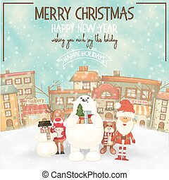 Merry Christmas Greeting Card - Merry Christmas Retro ...