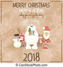 Merry Christmas Retro Greeting Card - Santa Claus and Xmas Characters on Vintage Craft Paper Background. Vector Illustration. Square Format.