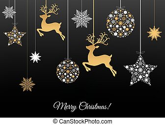 Merry Christmas greeting card on black background - Merry...