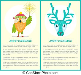 Merry Christmas Greeting Card Owl and Reindeer