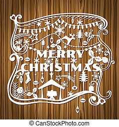 Merry Christmas Greeting Card - paper cut style - in vector