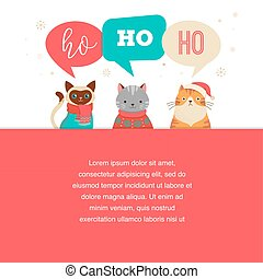 Merry Christmas greeting card, poster with cute cats characters, vector collection