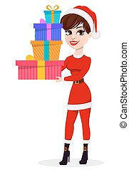 Merry Christmas greeting card. Pretty woman in Santa Claus costume holding three gift boxes