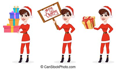 Merry Christmas greeting card. Pretty woman in Santa Claus costume, set of three poses