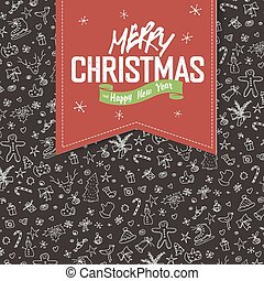 Merry Christmas Greeting Card. Red label with lettering on hand drawn Christmas background.