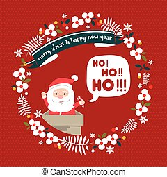 Merry Christmas greeting card. Santa Hohoho