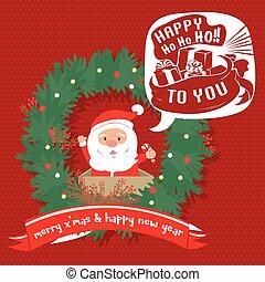 Merry Christmas greeting card. Santa hohoho.