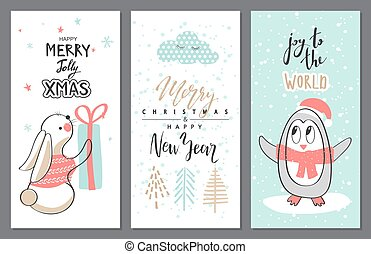 Merry Christmas greeting card set with cute animals. Vector illustration.