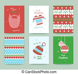 Merry Christmas greeting card set with winter hat, sweater, beard and christmas balls, classic colors