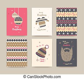 Merry Christmas greeting card set with winter hat, sweater, beard and christmas balls, golden colors