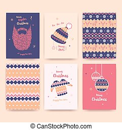 Merry Christmas greeting card set with winter hat, sweater, beard and christmas balls