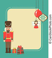 Merry Christmas greeting card template with Nutcracker and Christmas decorations