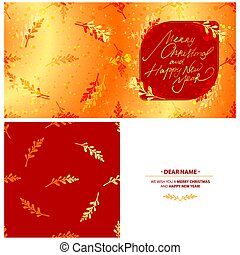 Merry Christmas greeting card template with plants, stars and bokeh background. Vector illustration.
