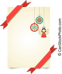 Merry Christmas greeting card template with red ribbons and Christmas toys