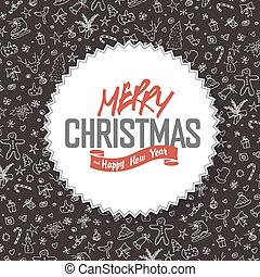 Merry Christmas Greeting Card. White label with lettering on hand drawn Christmas background.