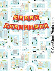 Merry Christmas. Greeting card winter city on eve of new year. Garland with letters.