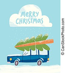 Merry Christmas greeting card with a car