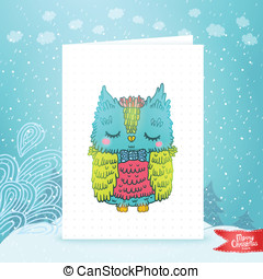 Merry Christmas greeting card with an owl.