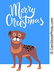 Merry Christmas Greeting Card with Brown Dog Smile