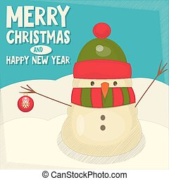 Merry Christmas Greeting Card with Cartoon Cute Snowman and...