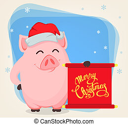 Merry Christmas greeting card with cartoon pig