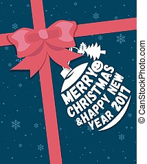 Merry Christmas greeting card with ribbon