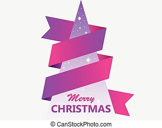 Merry Christmas. Greeting card with creative geometric christmas tree and ribbon. Vector illustration