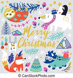 Merry Christmas greeting card with cute animals character in vector