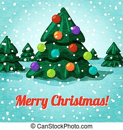 Merry Christmas greeting card with cute christmas tree, toys and place for your text. Vector