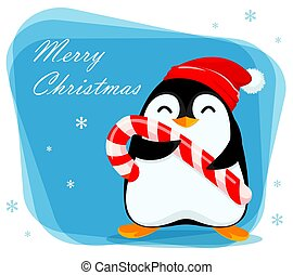 Merry Christmas greeting card with cute penguin