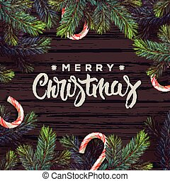 Merry Christmas greeting card with decor