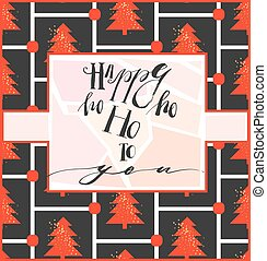 Merry Christmas greeting card with calligraphy. Hoho. Handwritten modern brush lettering. Hand drawn design elements.