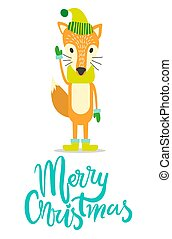 Merry Christmas Greeting Card with Fox in Warm Hat