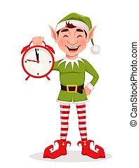 Merry Christmas greeting card with funny Elf
