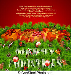 Merry Christmas greeting card with gift boxes and Xmas decorations. Vector eps10 illustration
