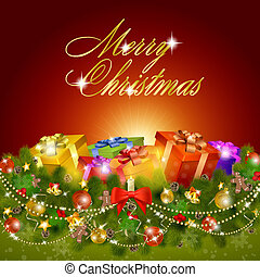 Merry christmas greeting card with gift boxes