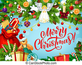 Merry Christmas greeting card with gifts and angel