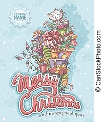 Merry Christmas greeting card with gifts