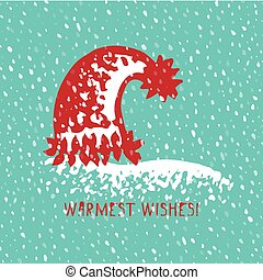 Merry Christmas Greeting card with hand drawn cute knitting hat, vintage retro designs with text Warmest wishes.
