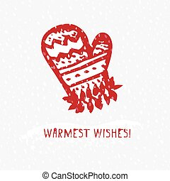 Merry Christmas Greeting card with hand drawn cute knitting mitten, vintage retro designs with text Warmest wishes.