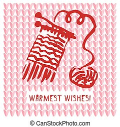 Merry Christmas Greeting card with hand drawn cute knitting scarf, vintage retro designs with text Warmest wishes.
