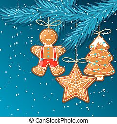 Merry Christmas greeting card with hanging gingerbread