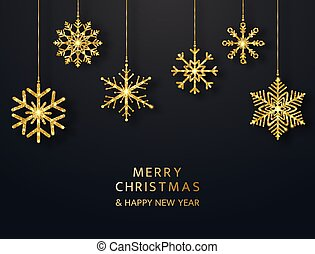 Merry Christmas greeting card with hanging glitter snowflakes. Bright gold baubles on black background. Luxury holiday design elements. Vector illustration