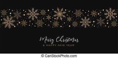 Merry Christmas greeting card with linear snowflakes