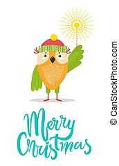 Merry Christmas Greeting Card with Owl Winter Hat